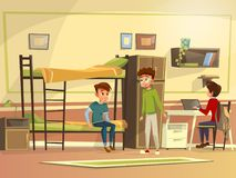 Vector cartoon students group in dormitory room. Vector cartoon teen male students group dormitory room. Boy characters discussing together, doing homework Stock Photo