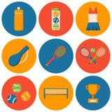 Vector cartoon tennis icons Stock Photos