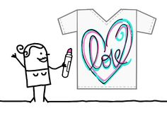 Cartoon Textile Designer Drawing a Sketchy Heart. Vector Cartoon Textile Designer Drawing a Sketchy Heart Royalty Free Stock Photos