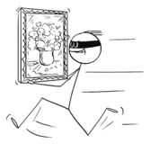 Vector Cartoon of Thief Running with Stolen Painting from Art Gallery, Museum or House. Vector cartoon stick figure drawing conceptual illustration of thief vector illustration