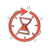 Vector cartoon time icon in comic style. Hourglass sign illustration pictogram. Sandglass clock business splash effect concept. vector illustration