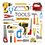 Vector cartoon tools set. Bright set for website templates, banners, posters stock illustration