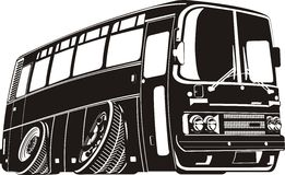 Vector cartoon tourist bus silhouette Stock Photos