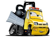 Vector Cartoon Tow Truck Stock Photography