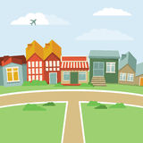 Vector cartoon town. Abstract landscape with houses in retro style Royalty Free Stock Photo