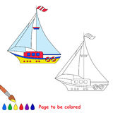 Vector cartoon toy boat to be colored. Stock Photos