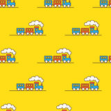 Vector cartoon toy seamless pattern. Little steam Stock Photography