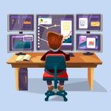 Vector cartoon trader, financial analyst workplace. Vector cartoon male trader, financial, data analyst character sitting monitoring graph diagram chart monitors Stock Photo