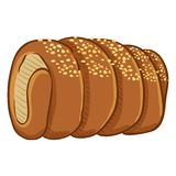 Vector Cartoon Traditional Czech Snack - Trdelnik with Sugar Crumb stock illustration