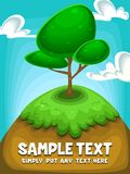 Vector cartoon tree illustration at hill with clear sky and cloud in fancy illustration. Including text space, blue sky, brown soil for nature theme background Stock Photo