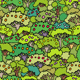 Vector cartoon trees and shrubs seamless pattern background with Stock Photo