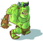 Vector Cartoon Troll Orc or Ogre with Raised Club Royalty Free Stock Image