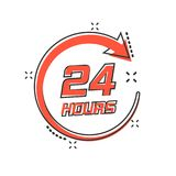 Vector cartoon twenty four hour clock icon in comic style. 24/7. Service time concept illustration pictogram. Around the clock business splash effect concept Stock Photography