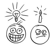 Vector Cartoon of Two Men, One with Light Bulb, Second With Candle Above their Heads royalty free illustration