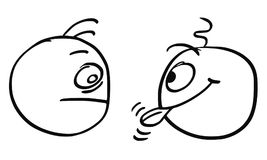 Vector Cartoon of Two Men, One of Them is Sticking Out his Tongu. Cartoon vector of two men looking at each other, one of them is crazy sticking out his tongue Royalty Free Stock Photo