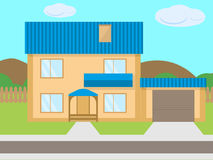 Vector cartoon two-story house garage green lawn. Vector illustration of a cartoon two-story house with a garage on the green lawn. The concept of mortgage on Stock Image