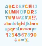 Multicolored kids Vector Font, letters, numbers and orthographic symbols. Vector cartoon typeface, multicolored kids vector ABC, letters, numbers and symbols Royalty Free Stock Photos
