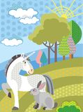 Vector cartoon unicorn and rabbit stock illustration
