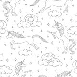 Vector cartoon unicorn seamless pattern on white background. Magical creatures outline with stars, moons and clouds. vector illustration