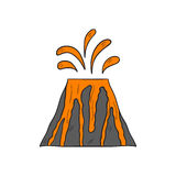 Vector cartoon volcano with lava. Vector cartoon illustration with isolated grey volcano and orange lava ejection. Hand drawn dangerous nature cataclysm icon Stock Image