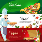 Vector Cartoon web banners with ingridients of pizza Stock Photography