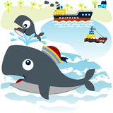 Whale. Vector cartoon of whale family playing in dock with cargo ship background. EPS 10 Royalty Free Stock Photo