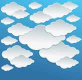 Vector Cartoon white clouds on blue sky Royalty Free Stock Photography