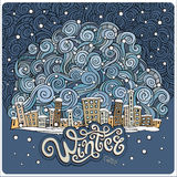 Vector cartoon winter fairytale town Royalty Free Stock Photos