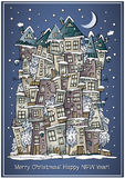 Vector cartoon winter fairytale town greeting card Stock Photos