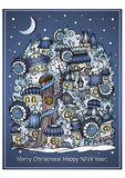Vector cartoon winter fairytale town greeting card Stock Photography