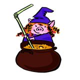 Vector cartoon witch pig and big cauldron vector illustration
