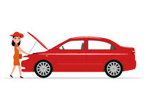 Vector cartoon woman opened hood of the automobile Stock Image