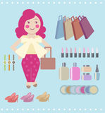 Vector cartoon woman shopping. Cartoon woman with her shopping item, shopping bags, cosmetics Royalty Free Stock Images