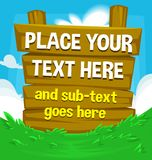 Vector cartoon wooden board banner template illustration green grass meadow cloud blue sky Stock Photo
