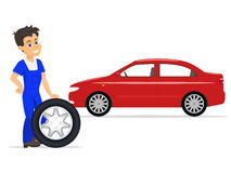 Vector cartoon worker on replacement tires wheels. Vector illustration of a cartoon worker on the replacement of tires and wheels. Isolated white background Royalty Free Stock Images
