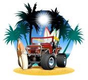 Vector cartoon 4x4 car on beach Stock Photo
