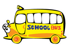 Vector cartoon yellow school bus isolated on white Stock Photo