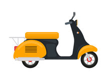 Vector cartoon yellow scooter with an engine Royalty Free Stock Image