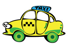Vector cartoon yellow taxi isolated on white Stock Photography