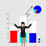 Vector - cartoon young businesswoman.report graph. Vector - Set of cute cartoon young businesswoman. Idea concept and finance report graph Royalty Free Stock Photos