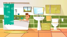 Vector cartoon young man having bath in bathtub vector illustration