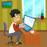 Vector cartoon young programmer man is working with laptop. EPS10 illustration of student studying process or search of Stock Images