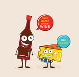 Vector cartoons of comic characters bottle of wine and cheese. Cartoon face food emoji. Funny food concept. Royalty Free Stock Photos