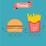 Vector cartoons of comic characters burger and fries . Friends forever. fast food Stock Photo