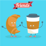 Vector cartoons of comic characters coffee and croissant. Friends forever. Breakfast Royalty Free Stock Photos