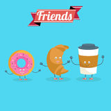 Vector cartoons of comic characters coffee, donut  and croissant. Friends forever. Breakfast Stock Images