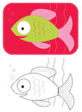 Vector cartoons  fish. Color applique of green fish for sew Stock Photo