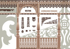 Vector carved architectural elements. Lacy elements in the contour style. EPS8 Royalty Free Stock Image