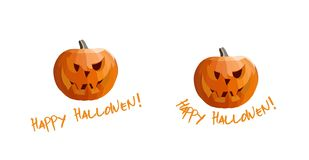 Vector Carved Pumpkins Happy Hallowen. Here are two vector carved pumpkins. One with straight text Happy Hallowen and second with rounded text. .eps file is stock illustration