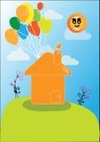 Vector a casa com uns lotes de balões coloridos ilustração stock